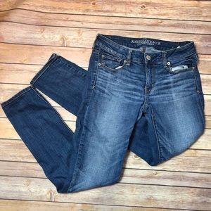 🔴3/$25 AEO Super Stretch Skinny Blue Jeans